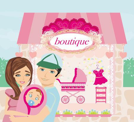 shopping for little girl Vector