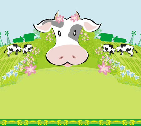 Cows graze in the meadow - abstract  funny illustration Vector