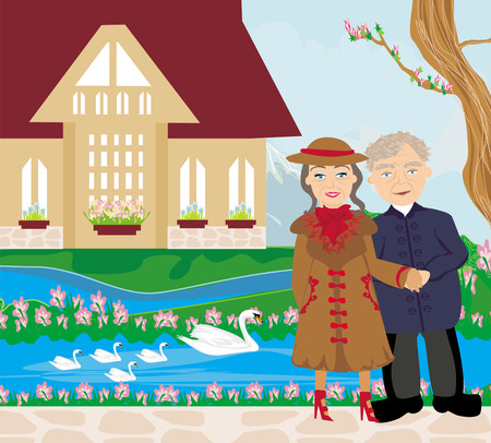 retired couple walking in the garden Stock Vector - 26069330