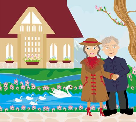 retired: retired couple walking in the garden Illustration