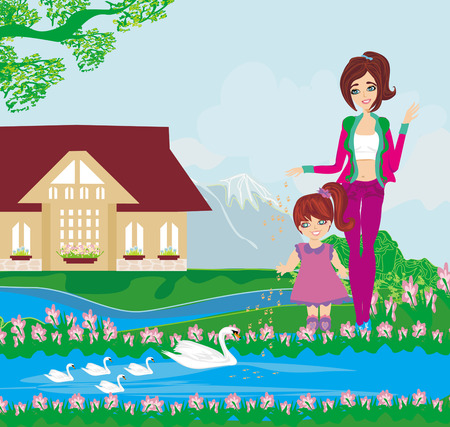 mother and daughter feed the swans Stock Vector - 26069331