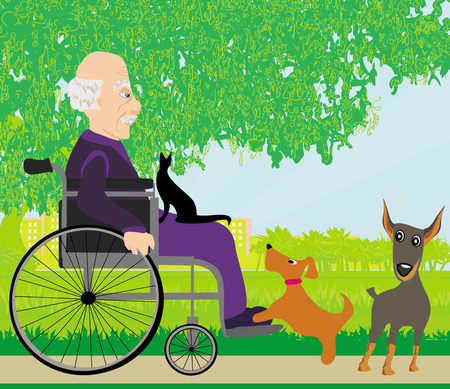 old man in a wheelchair and his pets Illustration