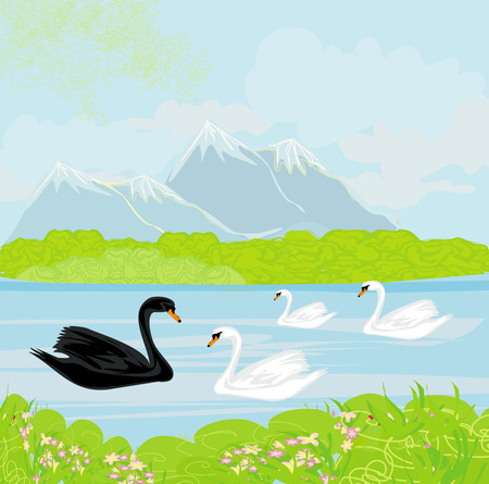 Vector landscape with mountains and swans on the lake Stock Vector - 26161820