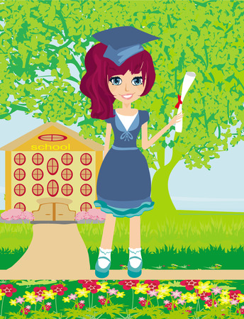 commencement exercises:  Illustration of a Kid Holding Her Diploma  Illustration