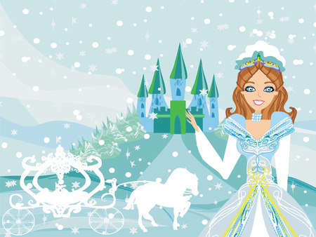 The beautiful princess is waiting for carriage Vector