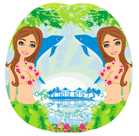 sexy women with garlands  Vector