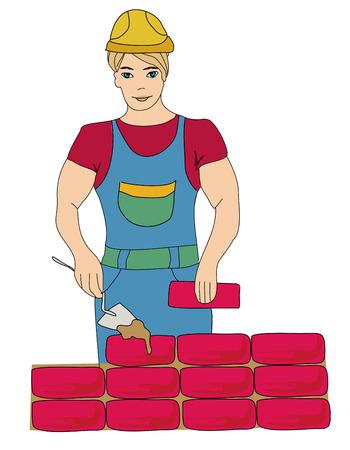 Trabajo del constructor. Albañil de Trabajo hace poniendo ladrillos, ilustración garabato
