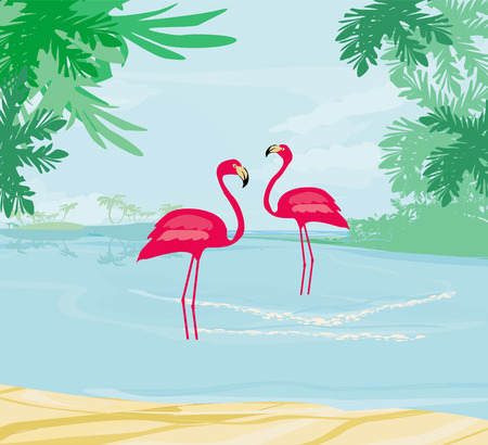 illustration with green palms and pink flamingo  Vector