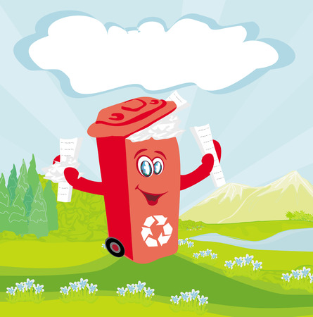 cleaning earth: Recycling red bin with papers - character illustration