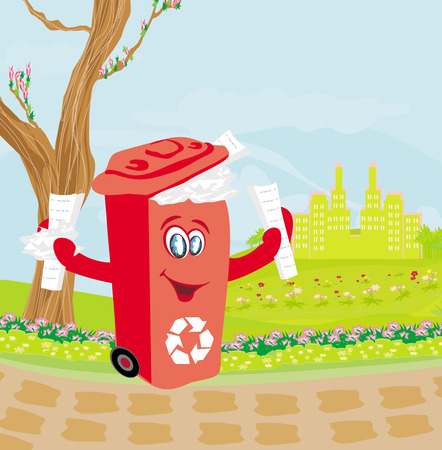 Recycling red bin with papers - character illustration Vector