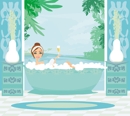 girl relaxes in the bath in a tropical spa Vector