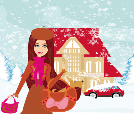 snowbank: Christmas shopping on a snowy day