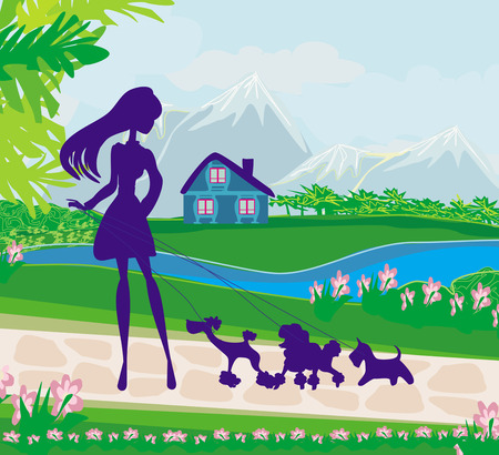 girl walking the dogs  Vector