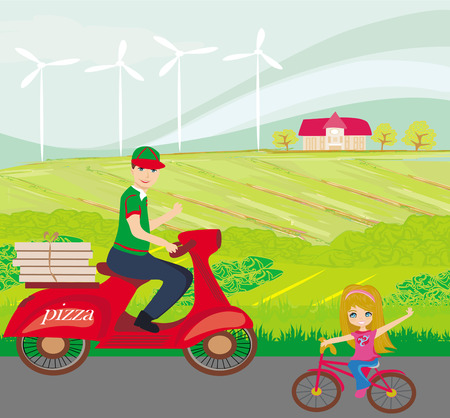 pizza delivery man on a motorcycle and sweet little girl on bike Vector
