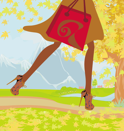 Autumn Shopping , close-up on shoes and shopping bag Vector
