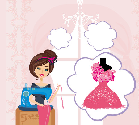 seamstress: girl with sewing machine,  dreams of a beautiful dress Illustration
