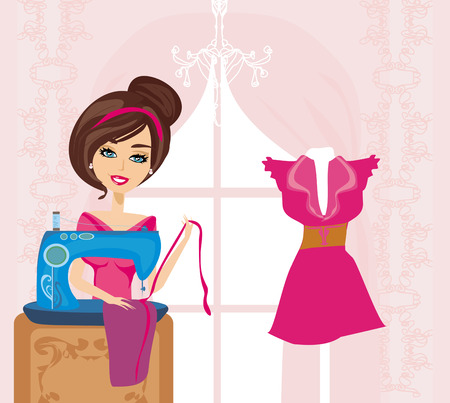 girl with sewing machine  Vector