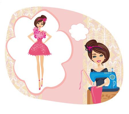 costurera: chica con la m�quina de coser, los sue�os de un hermoso vestido