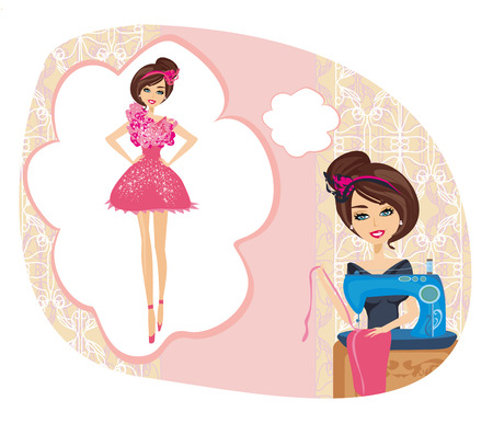 girl with sewing machine,  dreams of a beautiful dress Illustration