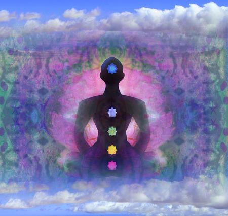 yogi aura: Yoga lotus pose. Padmasana with colored chakra points.