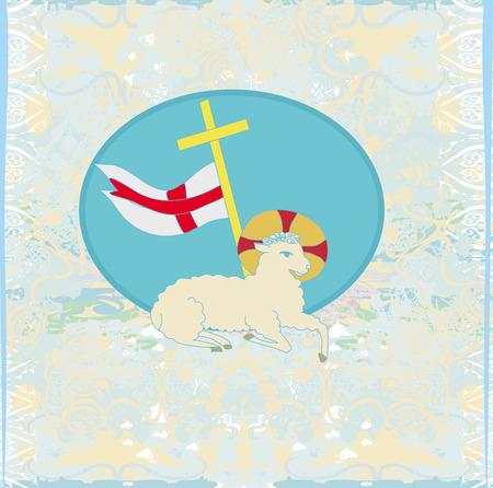 pasen schaap: Lam met Kruis - Abstract grunge kaart
