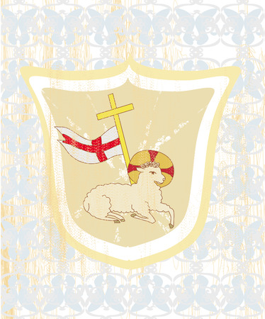 lamb of god: Lamb with Cross - Abstract grunge card Illustration