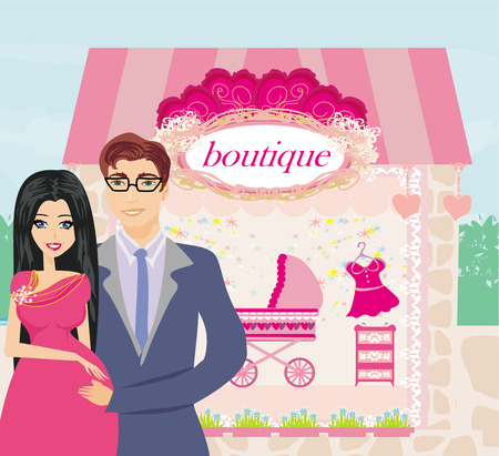 shopping couple awaiting baby Vector