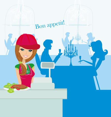 saleswoman: Beautiful saleswoman at the bar Illustration