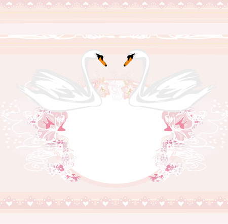 Wedding card with two romantic swans  Vector