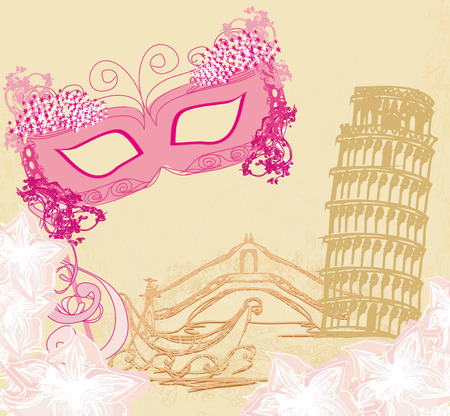 symbols italians - the carnival mask, Venice, gondola and  Pisa tower Vector