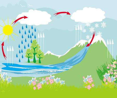 自然環境におけるサイクル水  イラスト・ベクター素材