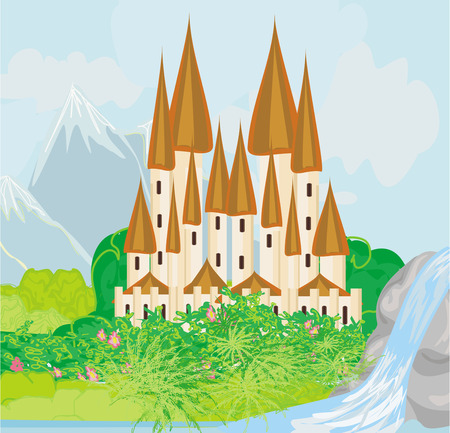 Panorama with medieval castle   Stock Vector - 26459365