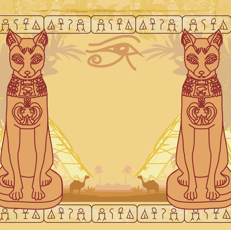 Stylized Egyptian cat , abstract grunge card Vector