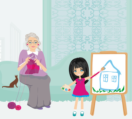 Grandmother and granddaughter relaxing at home Vector