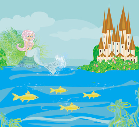 Illustration of a Beautiful mermaid,castle and fish Vector