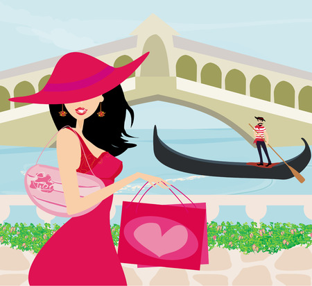 gondolier: Shopping in Venice