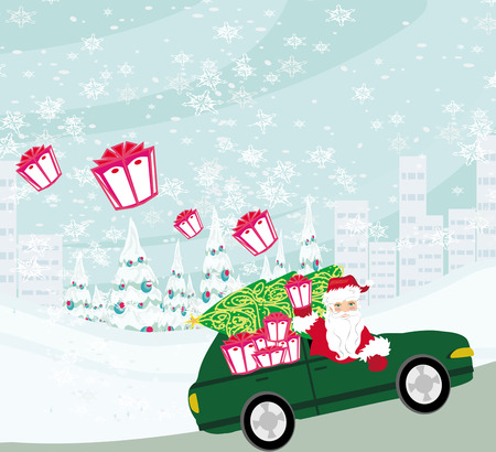 house of santa clause: Santa Claus driving car with Christmas gifts