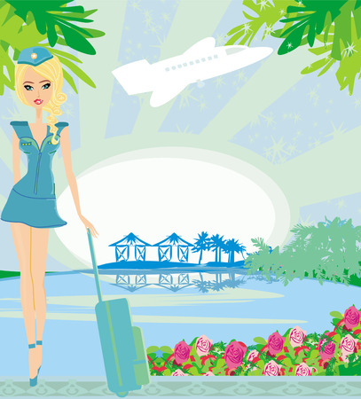 Beautiful stewardess with a suitcase in the tropics Illustration
