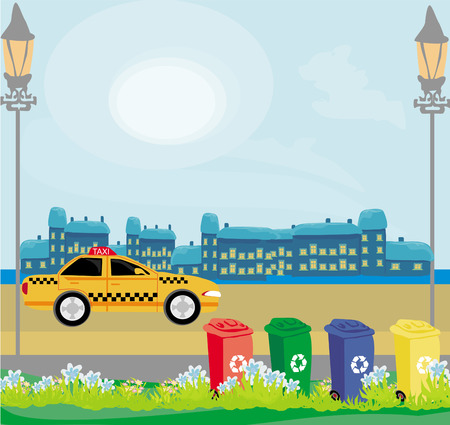 segregation: segregation of garbage in the city Illustration