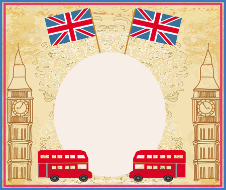 grunge frame with icons of London Vector