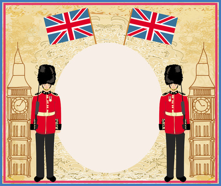 bearskin hat: Abstract frame with a flag,Beefeater soldier and Big Ben