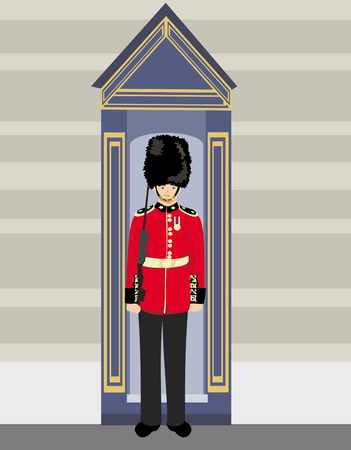 bearskin hat: royal British guardsman holding a rifle and standing near a guard box