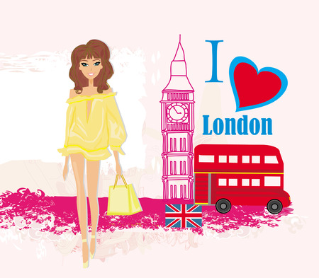 Beautiful woman in London , abstract card with icons of London Vector