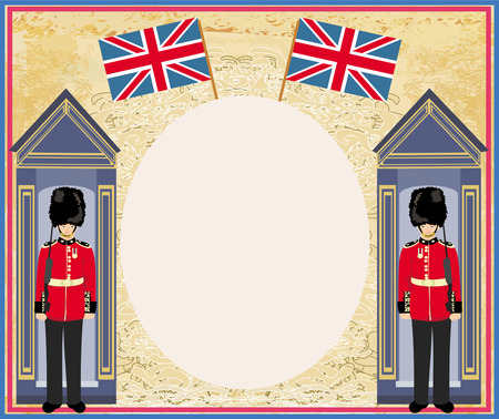stereotypes: abstract background with flag england and Beefeater soldier  Illustration