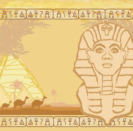 sphinx: abstract grunge frame - Grande Sfinge di Giza