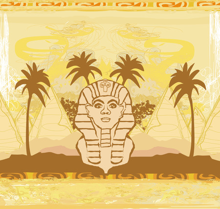giza: abstract grunge frame - Great Sphinx of Giza
