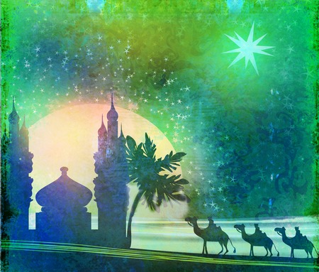 Classic three wise men scene and shining star of Bethlehem - Vintage texture photo