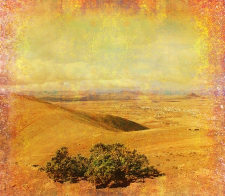 oliva: grunge paper with the landscape - Mountain in Fuerteventura Stock Photo