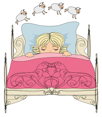 little girl counting sheep to fall asleep Vector