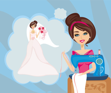 girl with sewing machine, dreams of a beautiful wedding dress  Vector